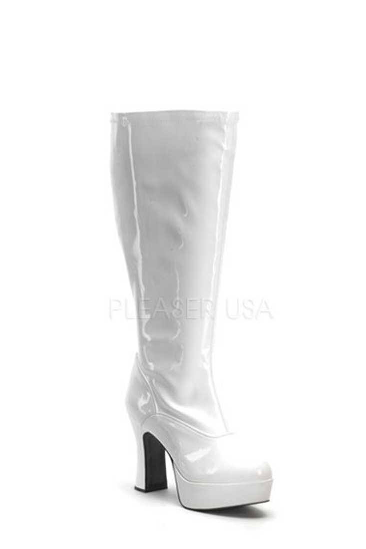 White Wide Width Chunky Heel GoGo Boots Patent