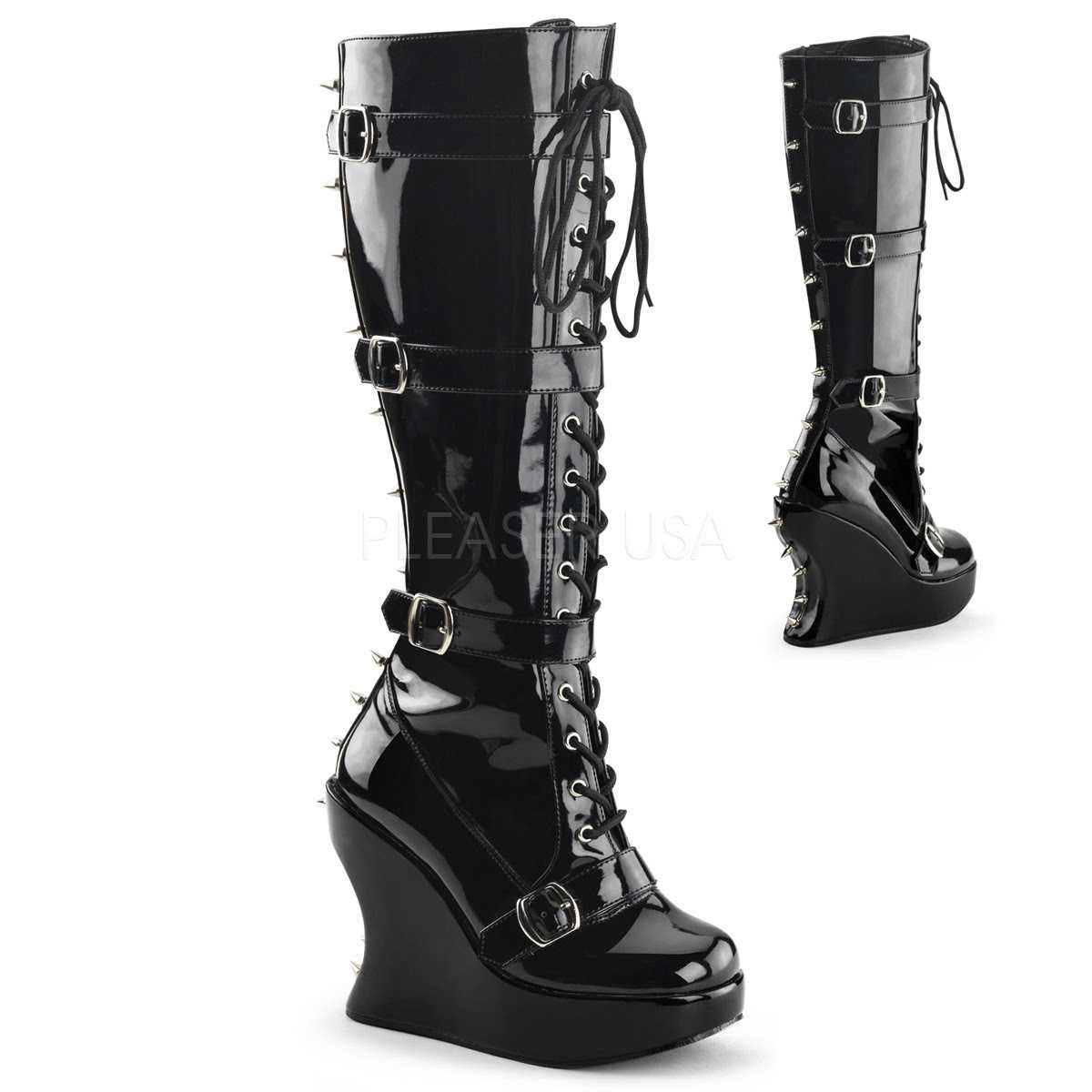 Black Spike Studded Knee High Boots Patent