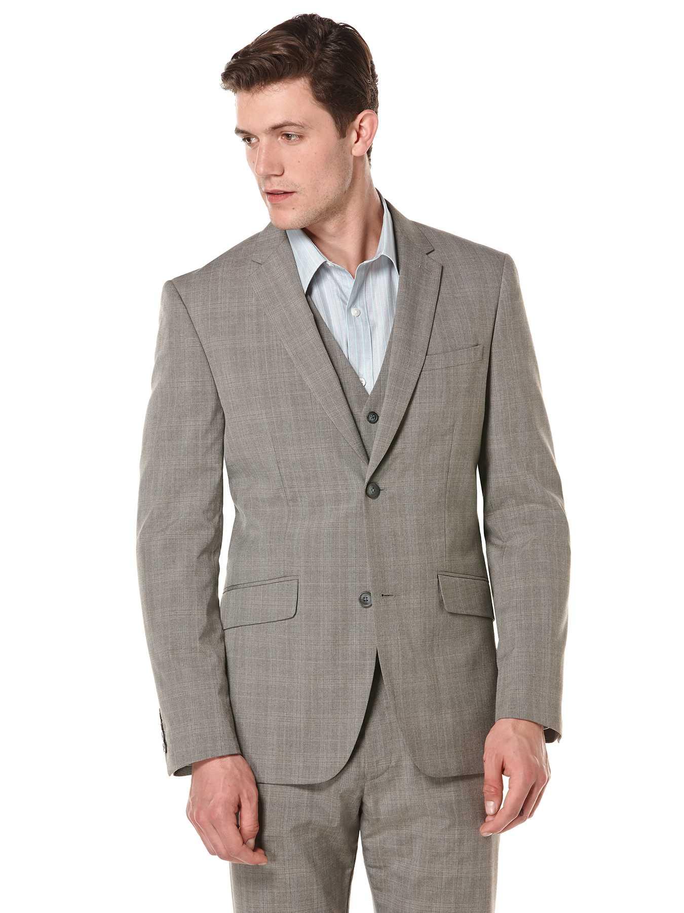 Perry Ellis Plaid Heather Two Button Suit Jacket