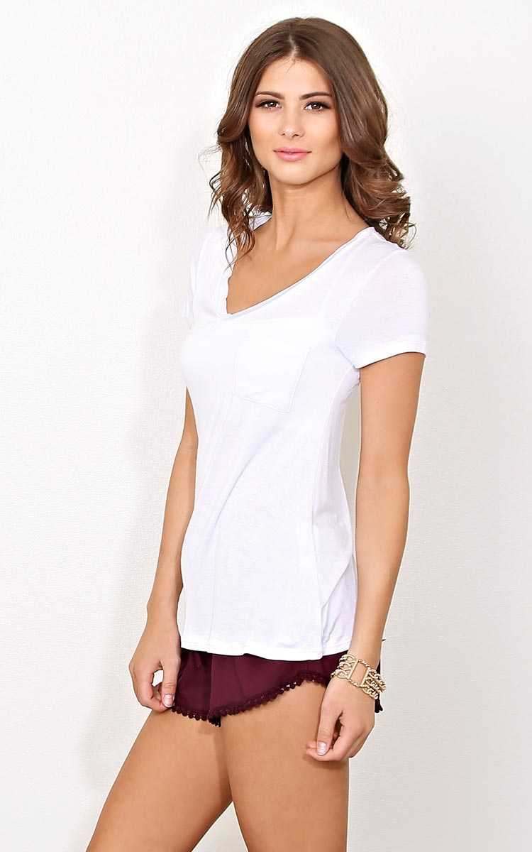 White Days End Knit Pocket Tee - SML - White in Size Small by Styles For Less