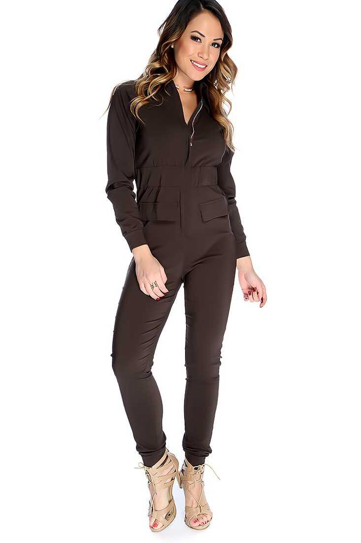 Sexy Dark Brown Long Sleeves Front Zipper Closure Jumpsuit