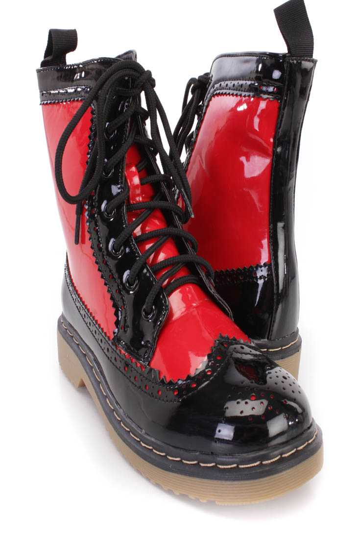 Red Two Tone Wing Tipped Toe Combat Boots Faux Leather