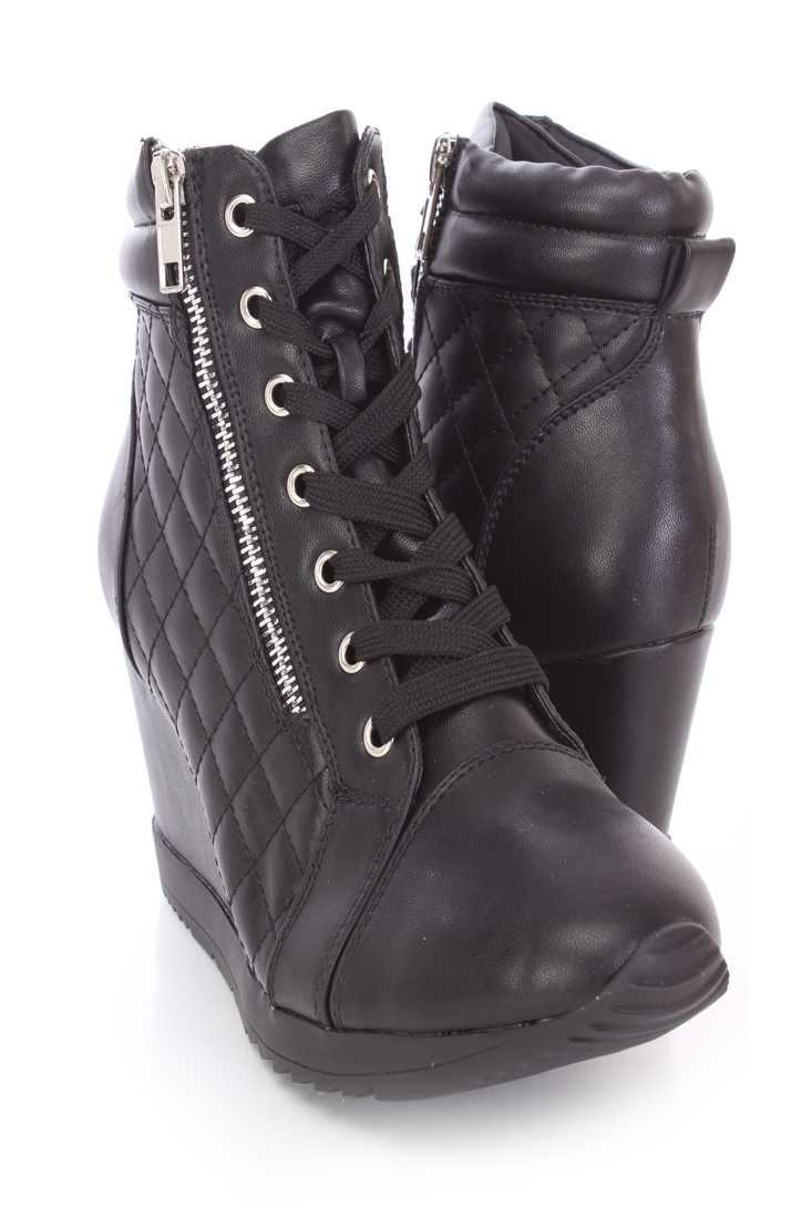 Black Quilted Sneaker Wedges Faux Leather