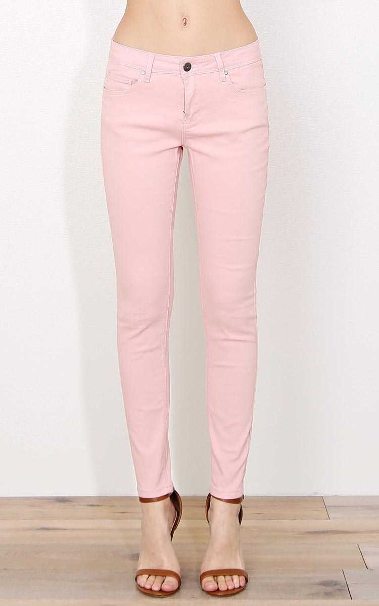 Blush Skinny Twill Pants - Mauve in Size 1 by Styles For Less