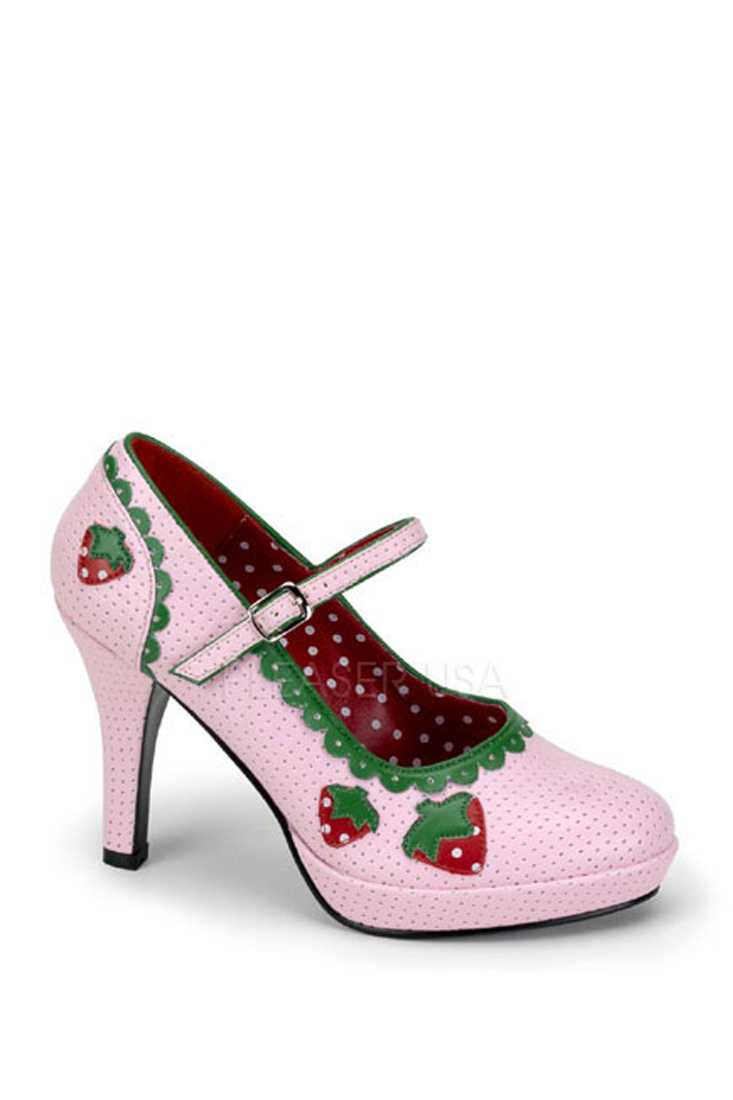 Baby Pink Strawberry Maryjane High Heels Faux Leather