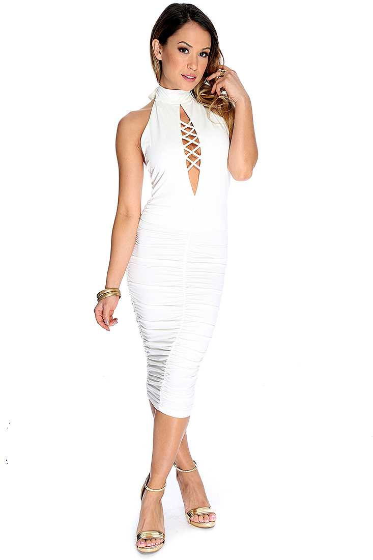 White Crisscross Front Knee Length Sexy Party Dress