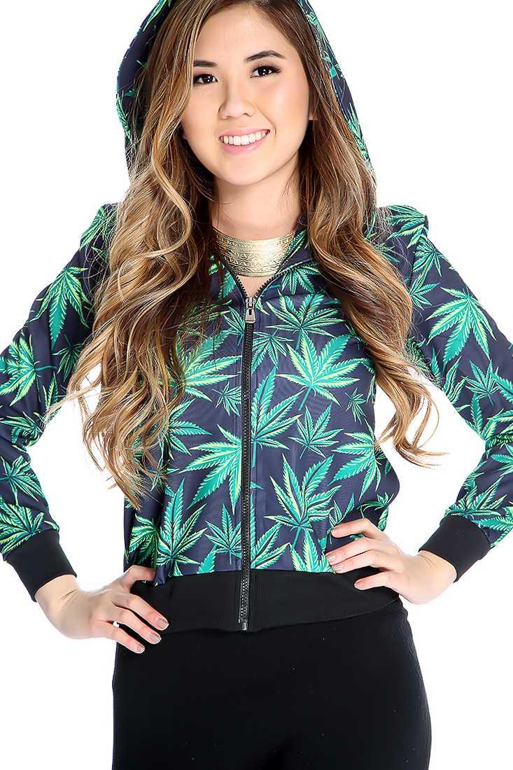 Navy Green Herbal Leaf Print Hoodie Sweater