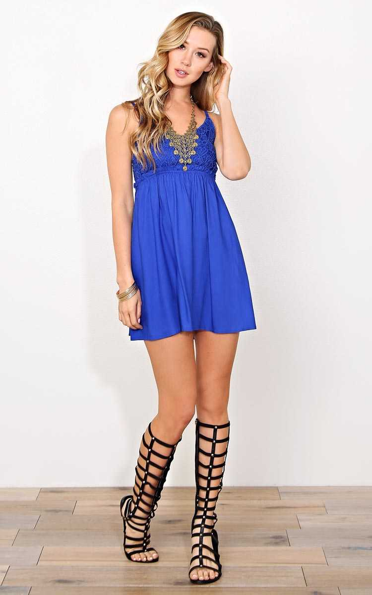 Tea Party Woven Dress - LGE - Cobalt in Size Large by Styles For Less