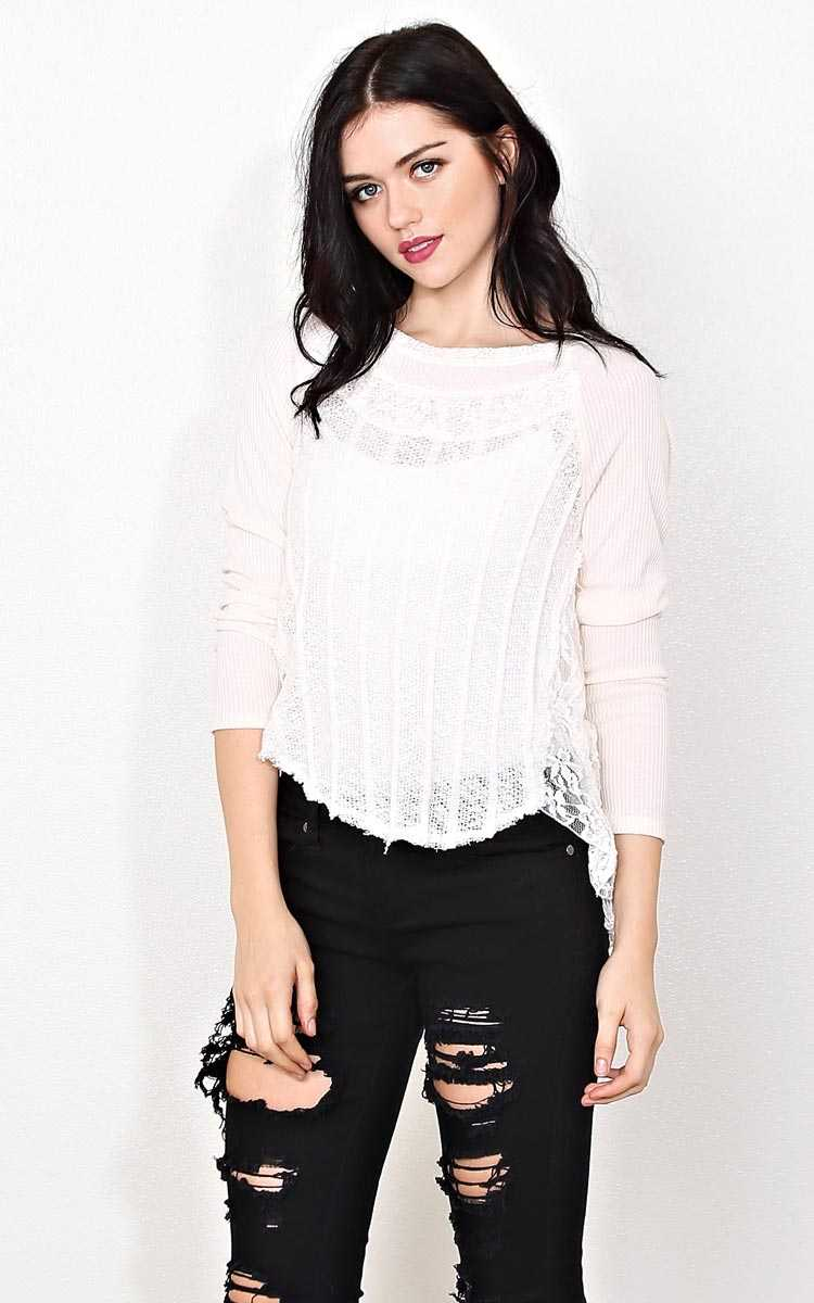 Winter Destination Knit Top - - Cream in Size by Styles For Less