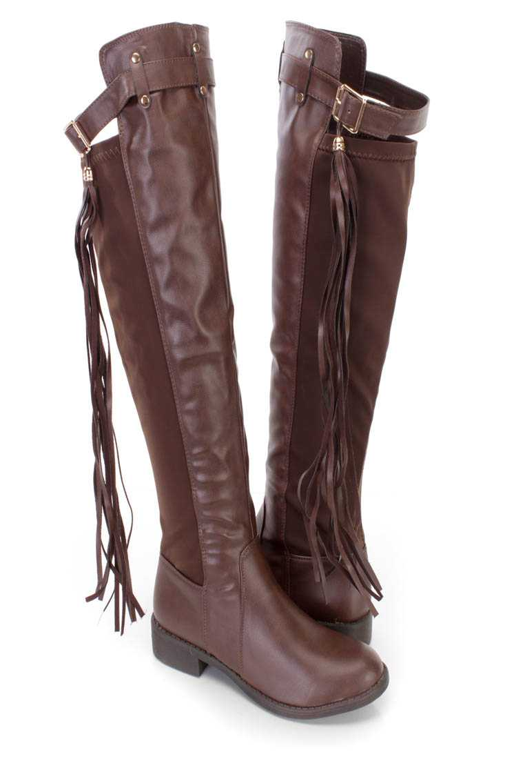 Brown Knee High Fringe Accent Riding Flat Boots Faux Leather