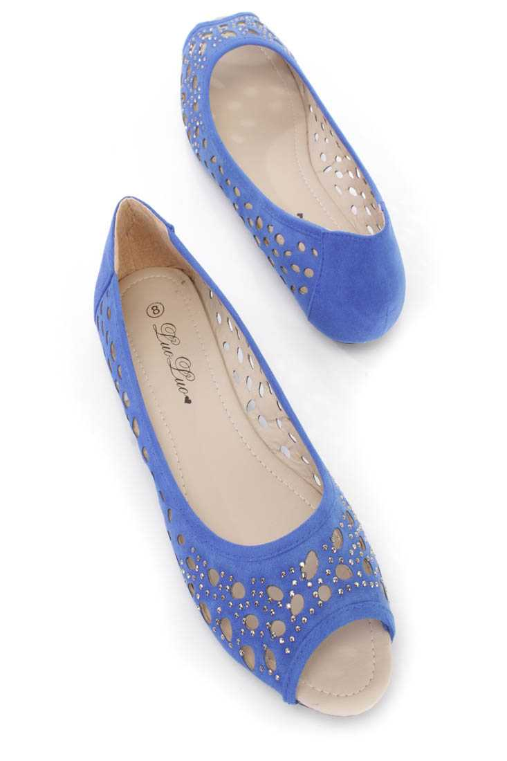 Royal Blue Perforated Rhinestone Peep Toe Flats Faux Suede