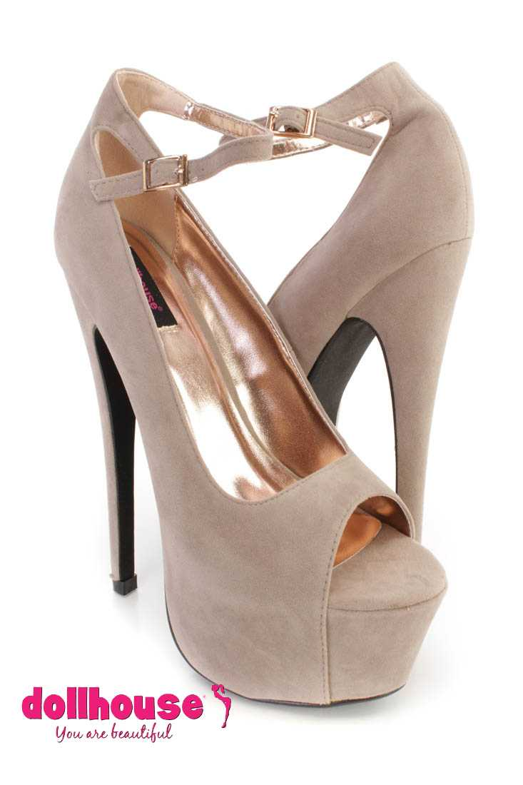 Taupe Ankle Strap Peep Toe 6 Inch High Heels Faux Suede