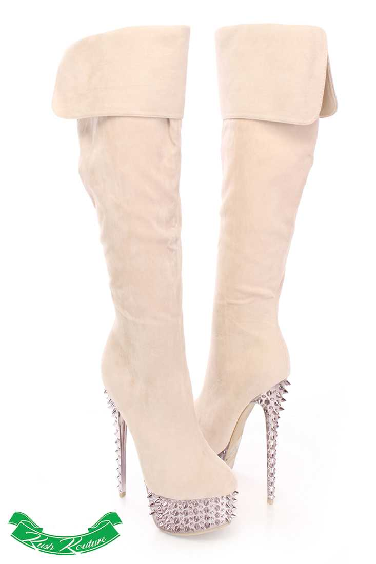 Nude Spiked Knee High Boots Faux Suede
