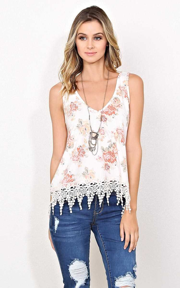 Vera Floral Crochet Knit Tank - - Ivory Combo in Size by Styles For Less