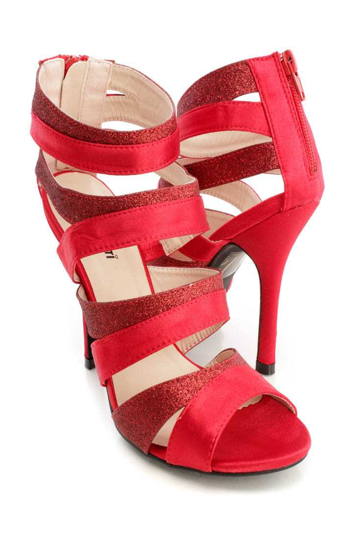Red Glitter Strappy Ankle Booties Satin