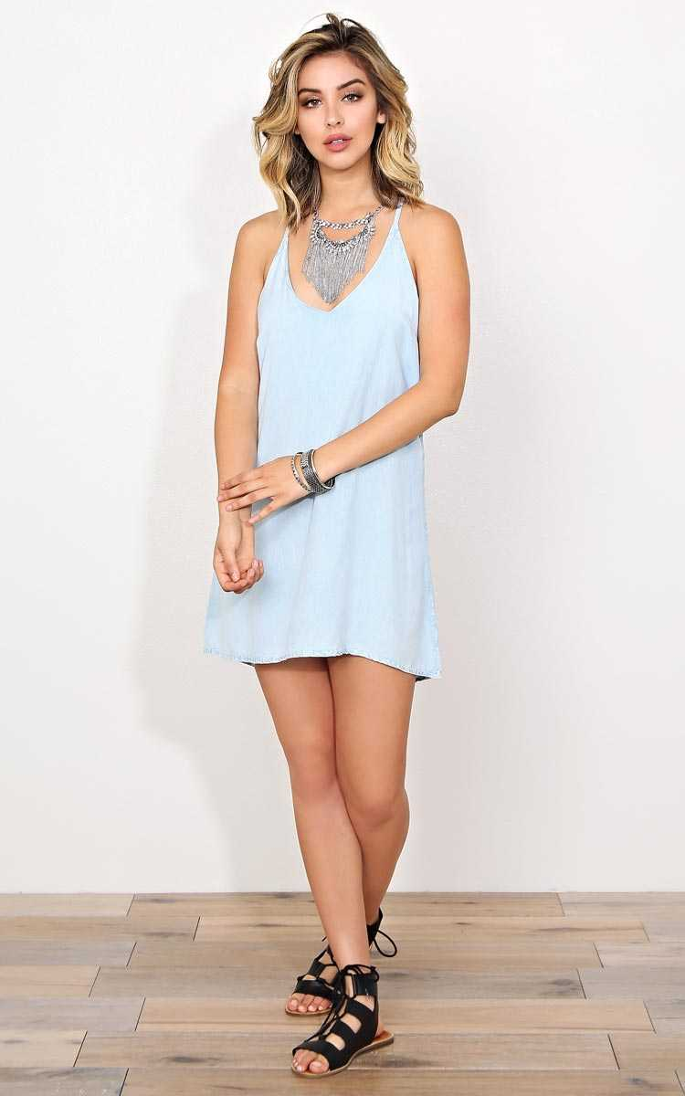 Talia Woven Chambray Dress - MED - Lt Blue in Size Medium by Styles For Less