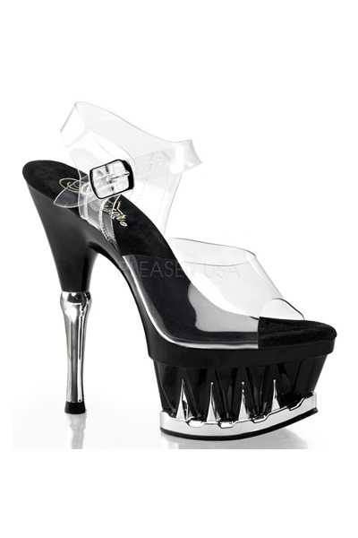 Clear Black Strappy Spike Carved Platform High Heels