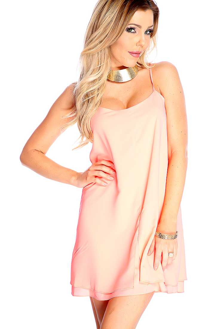Sexy Neon Coral Strappy Back Sleeveless Casual Dress