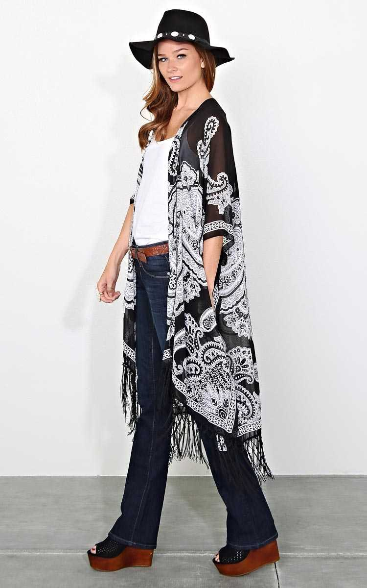Paisley Vision Woven Duster - LGE - Black Combo in Size Large by Styles For Less