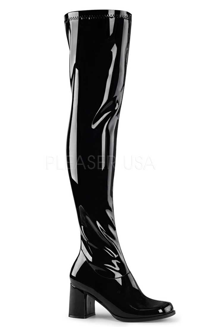 Black Over The Knee Block Heel Boots Patent