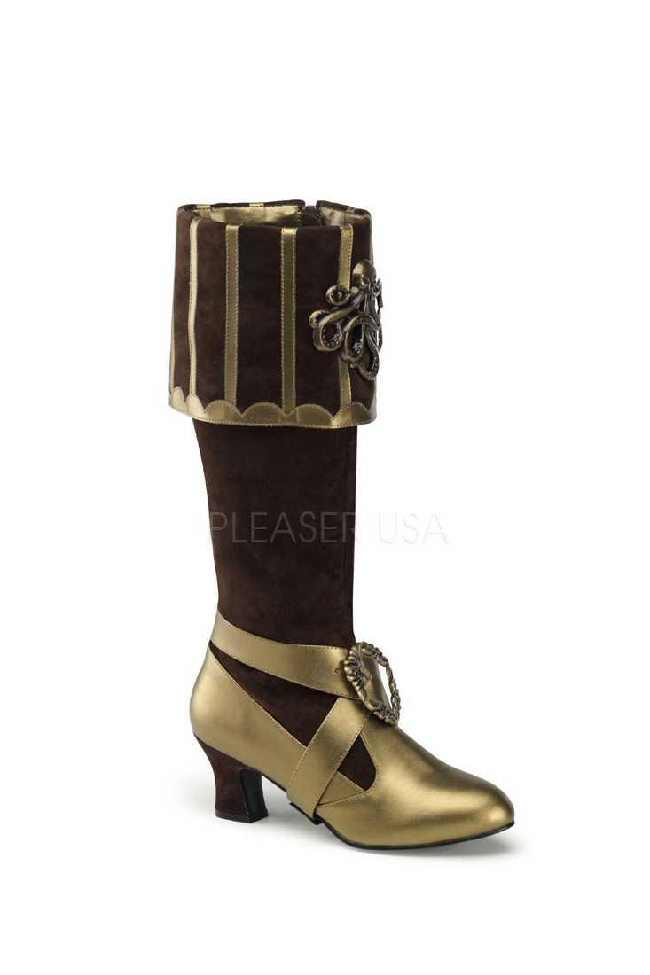Brown Bronze Knee High Cuffed Boots Velvet
