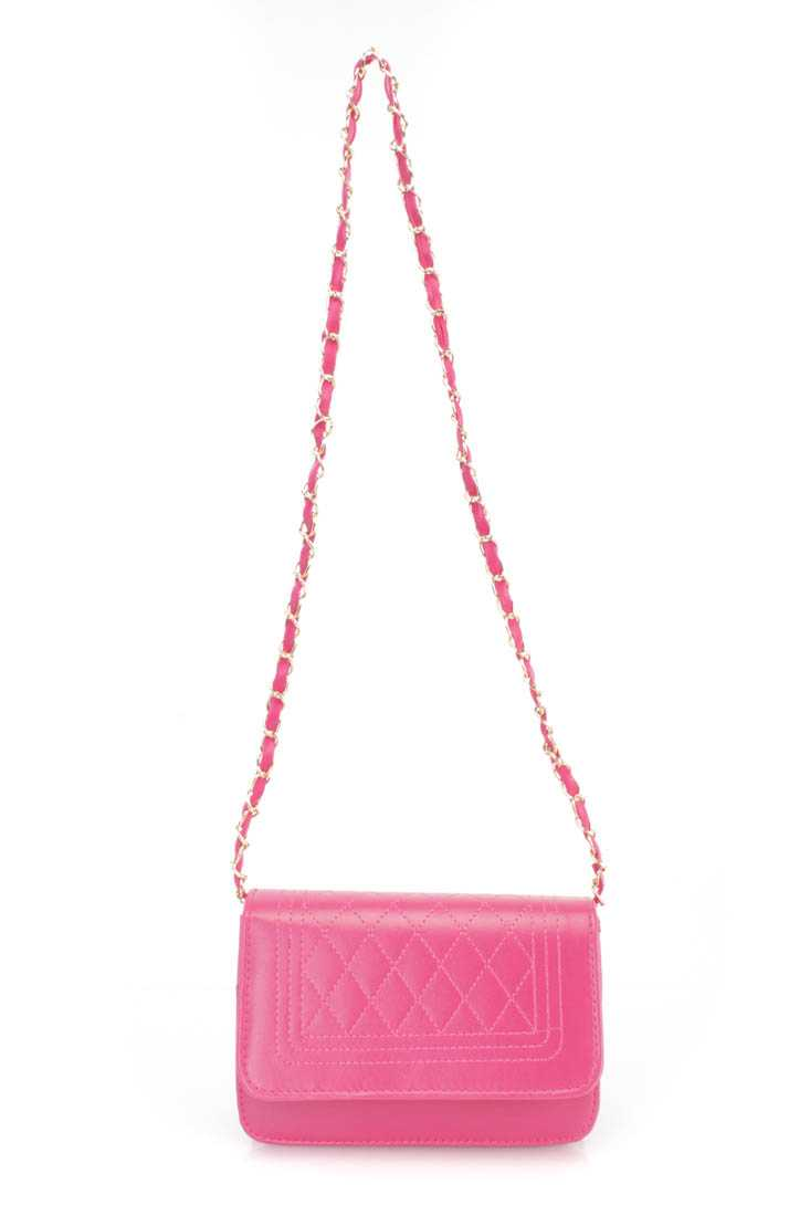 Fuchsia Faux Leather Handbag