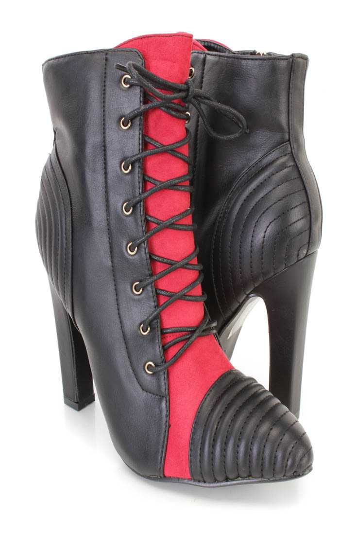 Red Lace Up Pointed Toe Ankle Booties Faux Leather