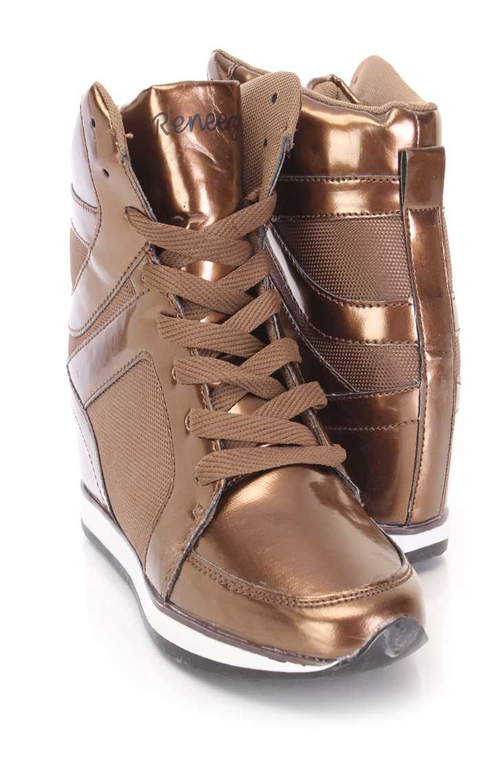 Brown Lace Up Sneaker Wedges Metallic Faux Leather