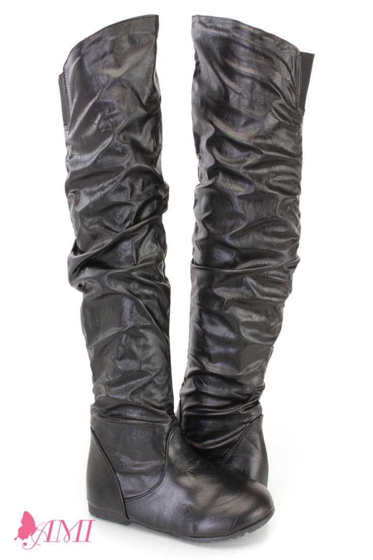 Black Slouchy Shaft Thigh High Boots Faux Leather