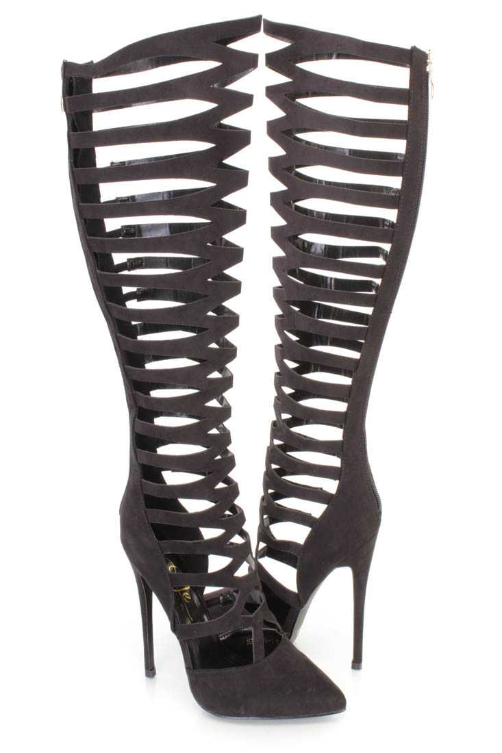 Black Pointy Toe Gladiator High Heel Boots