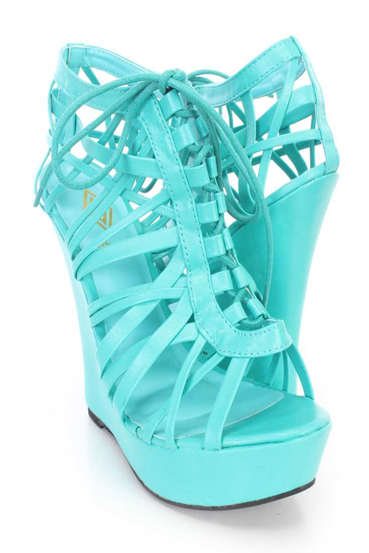 Teal Caged Lace Up Front Open Toe Wedges Faux Leather