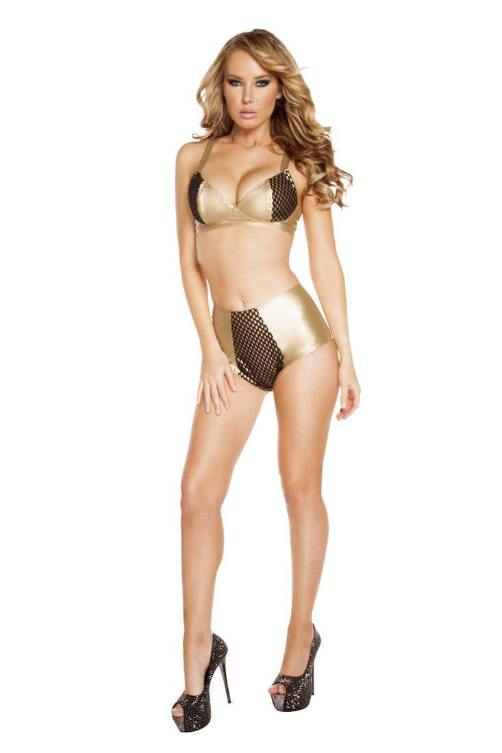 Gold High-Waisted Leatherette Shorts with Fishnet Detail
