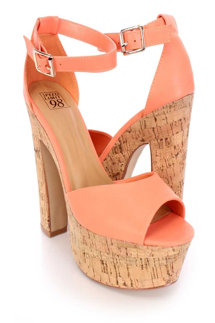 Peach Peep Toe Chunky Cork Platform Heels Faux Leather