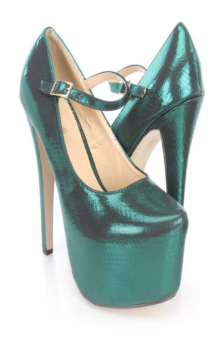 Green Snake Imprint Mary Jane Platform High Heels Fabric
