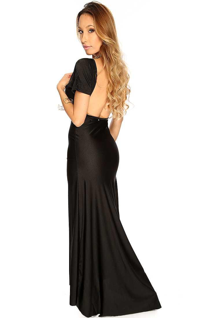 Black Short Sleeves V-Neck Backless Cocktail Mermaid Maxi Dress