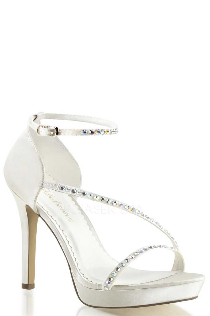 Ivory Metallic Asymmetrical Strappy High Heels Faux Leather