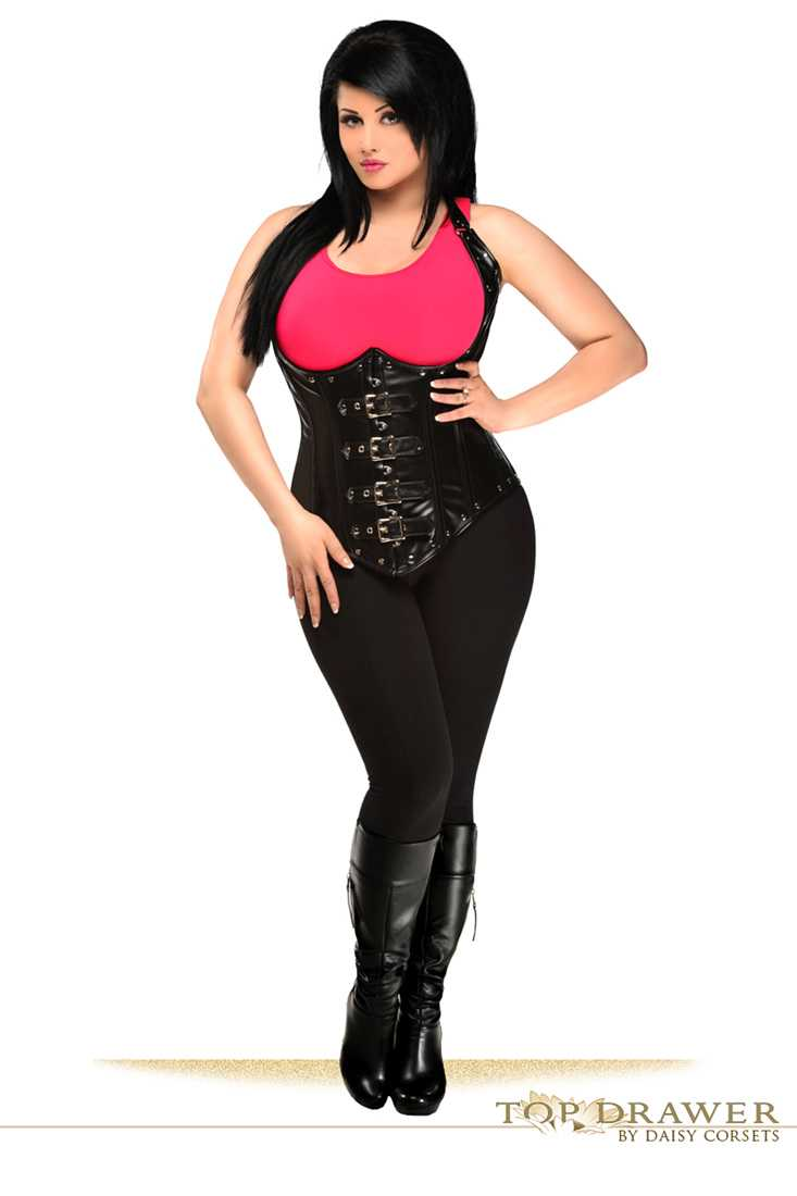 Black Steel Boned Faux Leather Underbust Corset Top