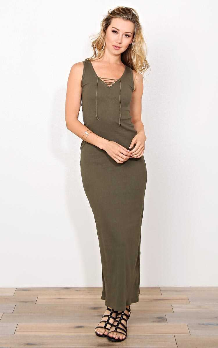 Olive Kim Rib Knit Maxi Dress - MED - Olive/Drab in Size Medium by Styles For Less