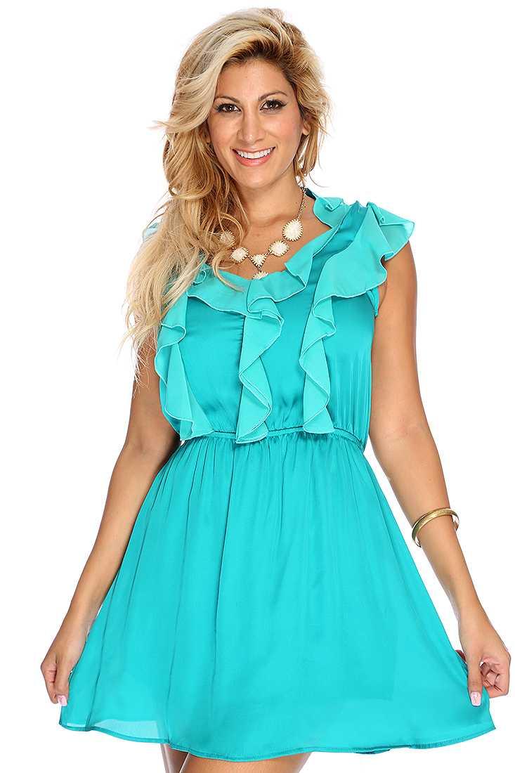 Teal Ruffle Trim Casual Summer Dress