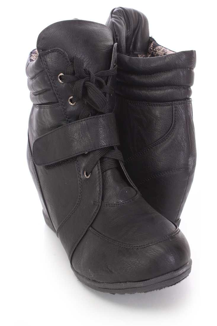 Black Lace Up Mid Strap Sneaker Wedges Faux Leather