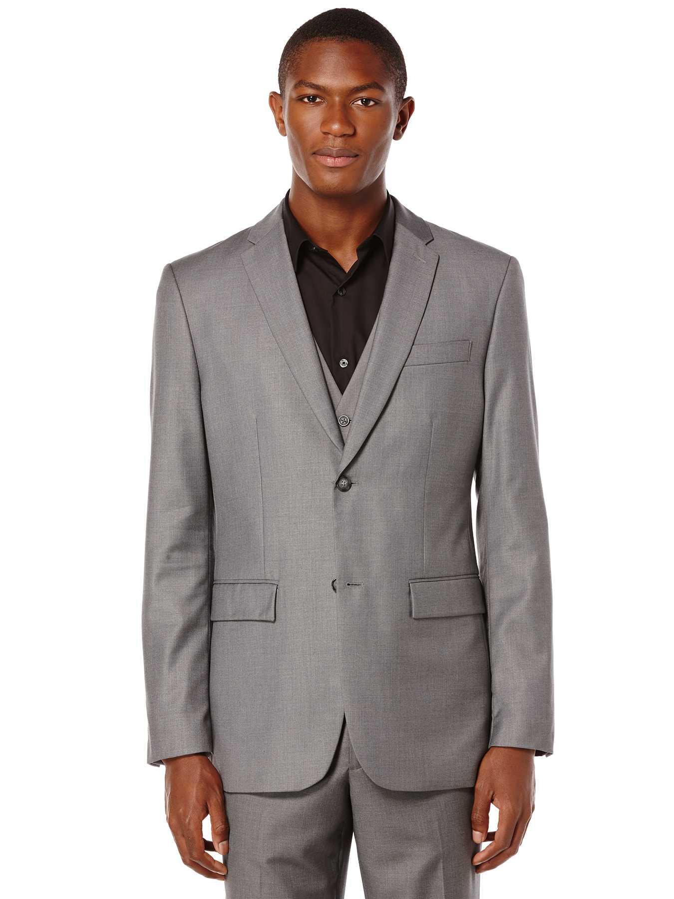 Perry Ellis Modern Fit Solid Sharkskin Suit Jacket