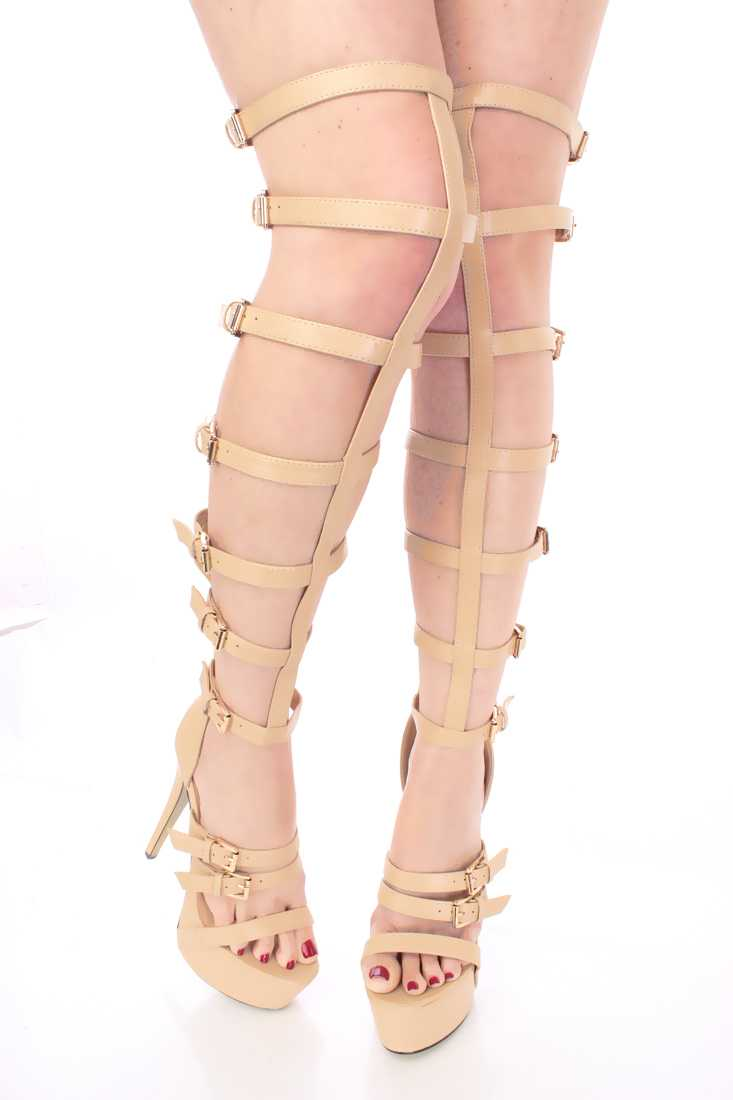 Nude Gladiator Platform High Heels Faux Leather
