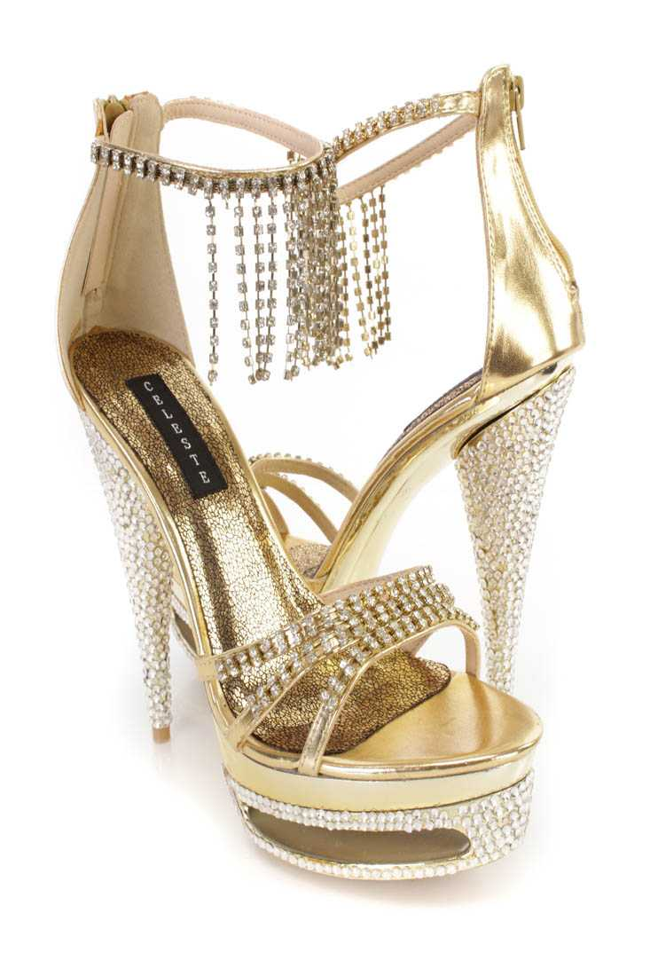 Gold Fringe Rhinestone 6 Inch High Heels Faux Leather