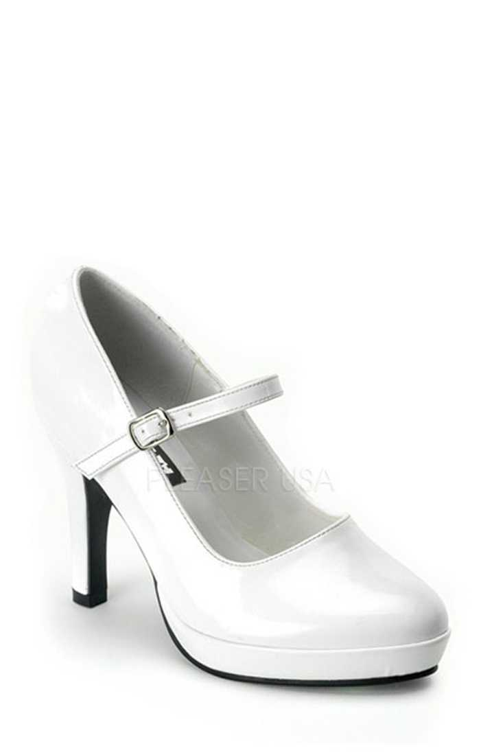White Closed Toe Maryjane High Heels Patent