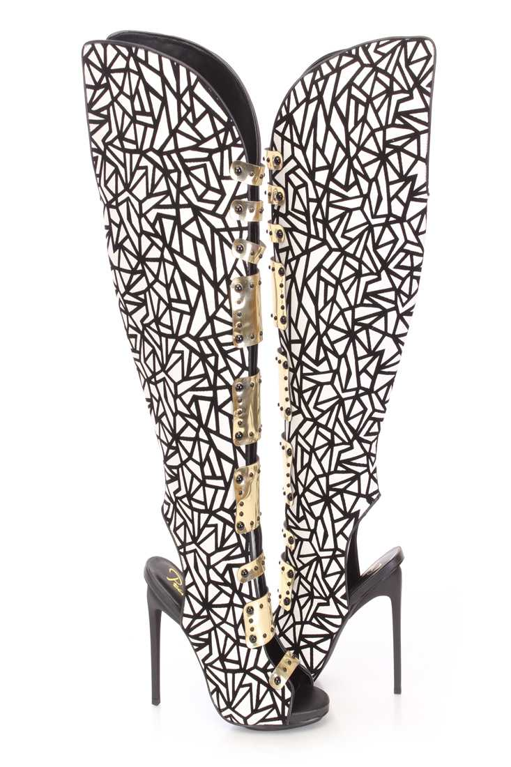 Black White Thigh High Strappy Boots Faux Leather