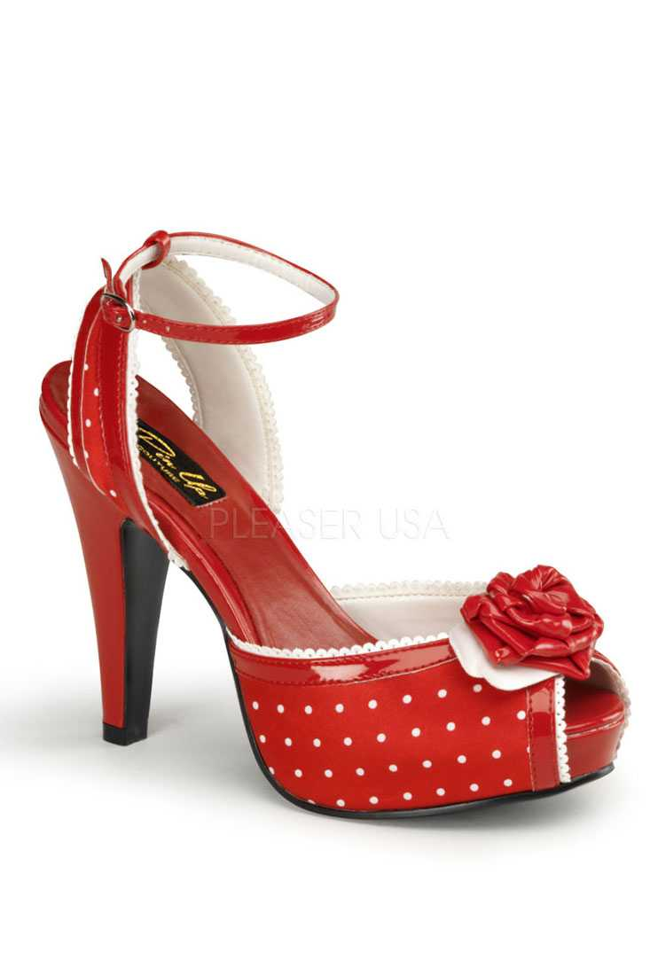 Red Polka Dot Peep Toe Scalloped High Heels Satin