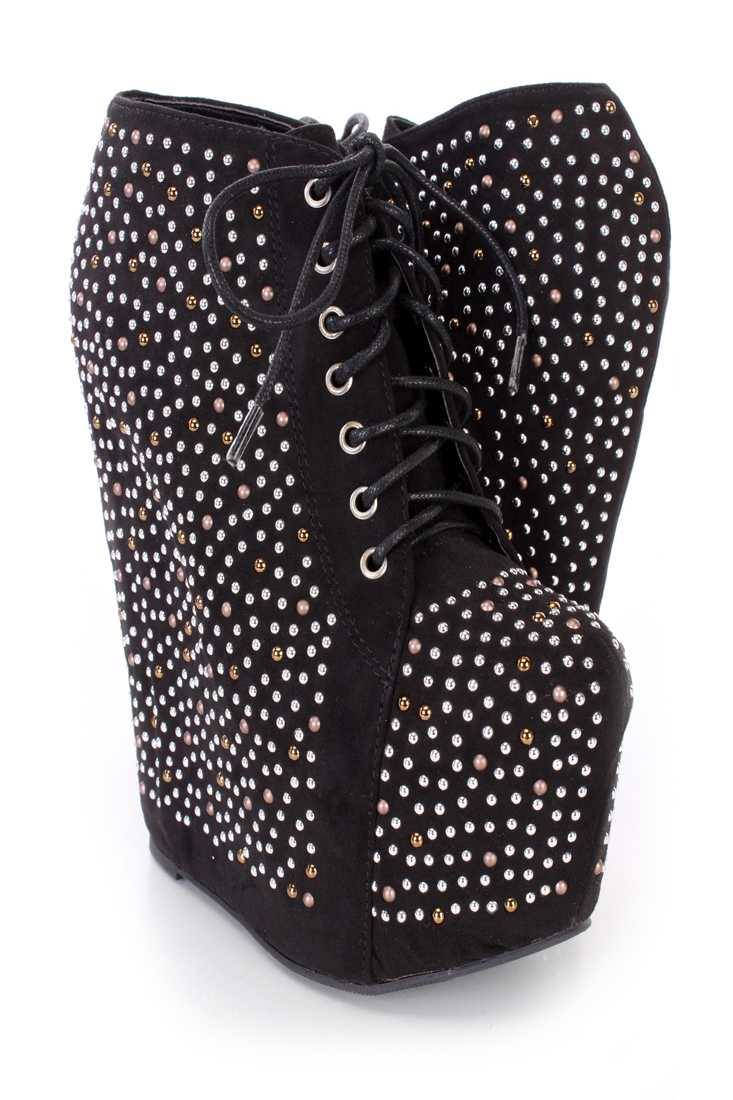 Black Studded Lace Up Platform Wedge Booties Faux Suede
