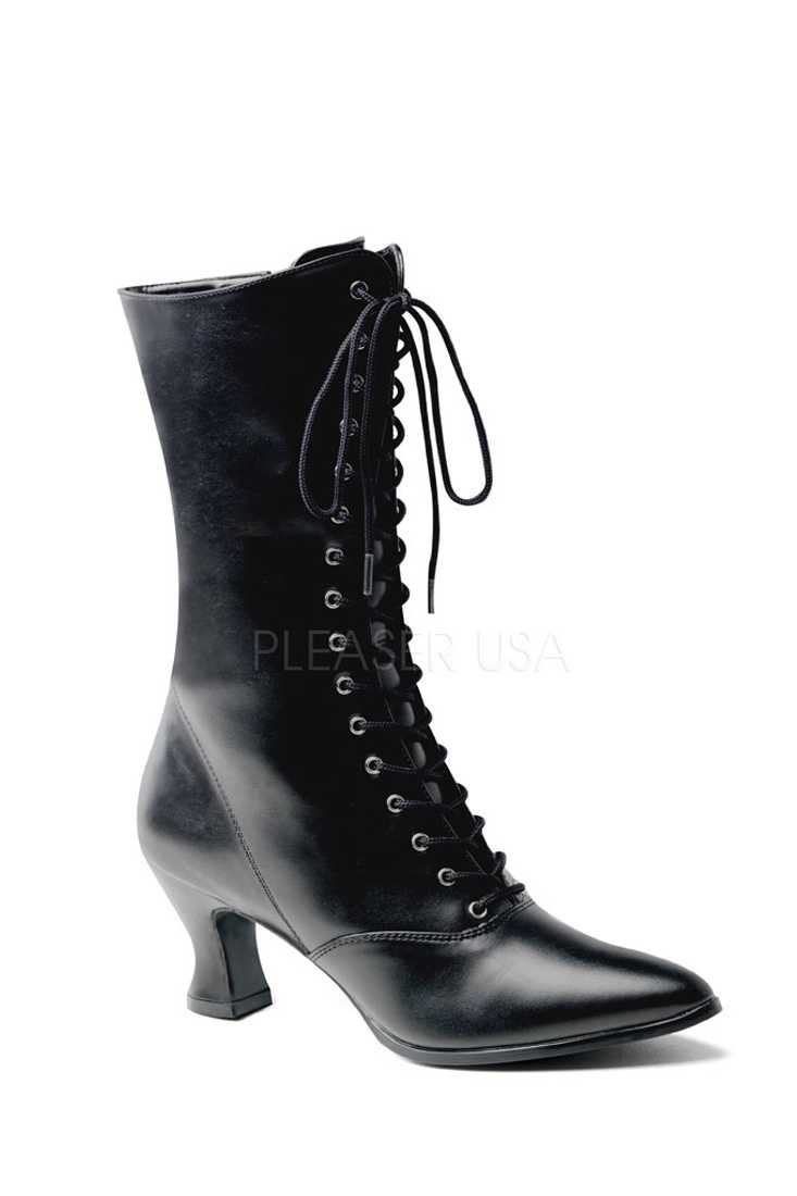 Black Lace Up Mid Calf Victorian Boots Faux Leather