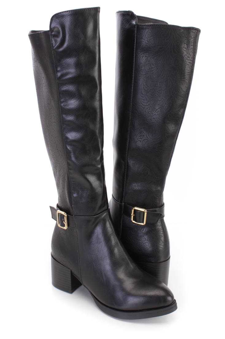 Black Paisley Embossed Riding Boots Faux Leather
