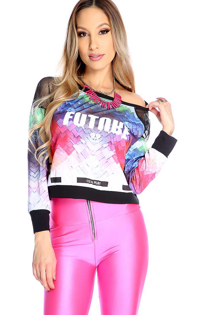 Rainbow Black Mesh Long Sleeve Chevron Watercolor Print Sweater Top